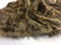 "FAUX FAKE FUR FEATHERED BIRD LONG PILE FABRIC - Gold - 62"" WIDE BY THE YARD COAT"