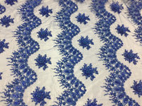 Jerusalem's Mesh lace fabric Fantastic R-Blue Pearl Design Embroidery And Heavy By The Yard