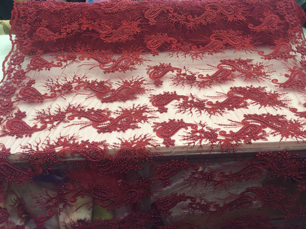 Beaded Burgundy Mesh Lace Fabric With Pearls Luxurious Design By Yard