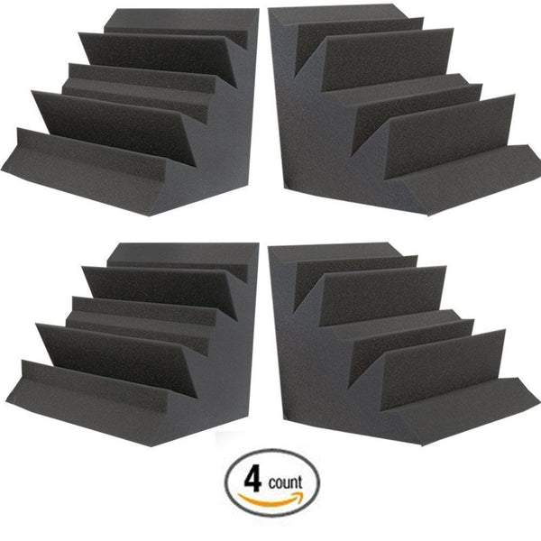 4 Pack Acoustic Foam Bass Trap Studio Corner Wall Panel