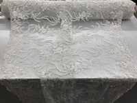 Jerusalem's Luxurious White Mesh / Embroidery Beaded Lace & Sequins Fabric - Sold By The Yard