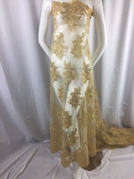 Gold Flower Lace Corded And Embroider With-Sequins On A Mesh wedding Bridal prom