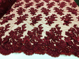 Jerusalem's Bridal Floral 3D Lace Fabric with Embroidery Polyester Mesh Burgundy