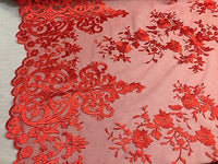 Red Embroidered Lace Fabric On A 2 Way Stretch - Wedding Dress - By The Yard