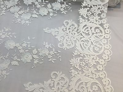 Ivory Flowers Embroider On A 2 Way Stretch Mesh Lace.Wedding/Bridal Fabric.