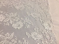 Embroidered Lace fabric White - Flower Corded Mesh Bridal-Wedding By The Yard
