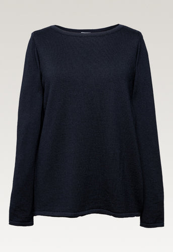 Jessa Merino Pullover Sweater - Midnight Blue