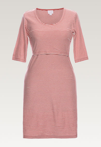 Eva Striped Dress - Faded Rose