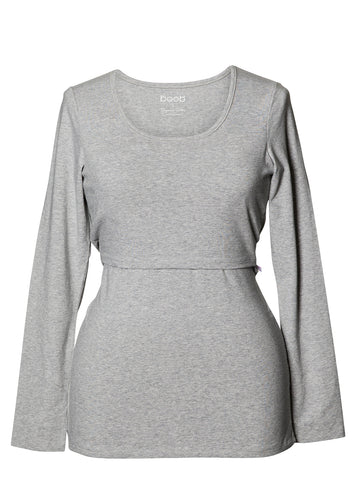 Classic Long Sleeved Shirt - Grey Melange