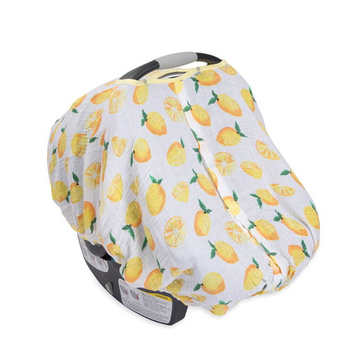 Cotton Muslin Carseat Canopy - Lemon