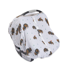 Cotton Muslin Carseat Canopy - Bison