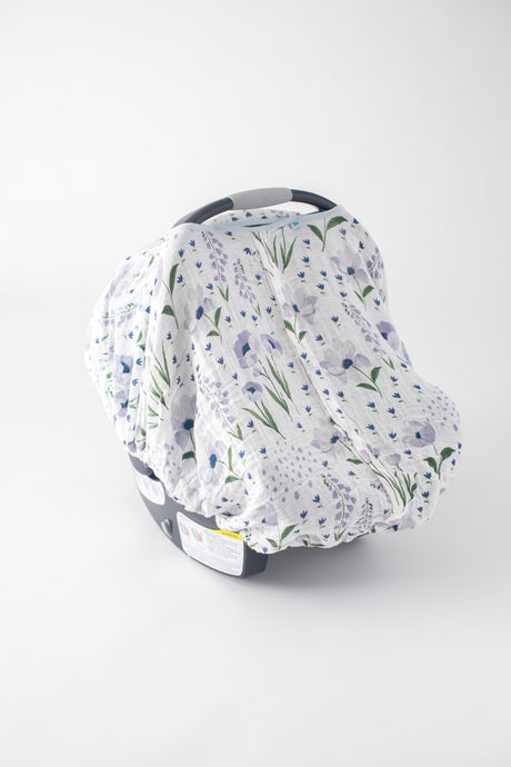 Cotton Muslin Carseat Canopy - Blue Windflower