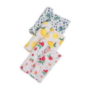 Cotton Muslin Swaddle 3 Pack - Berry Lemonade