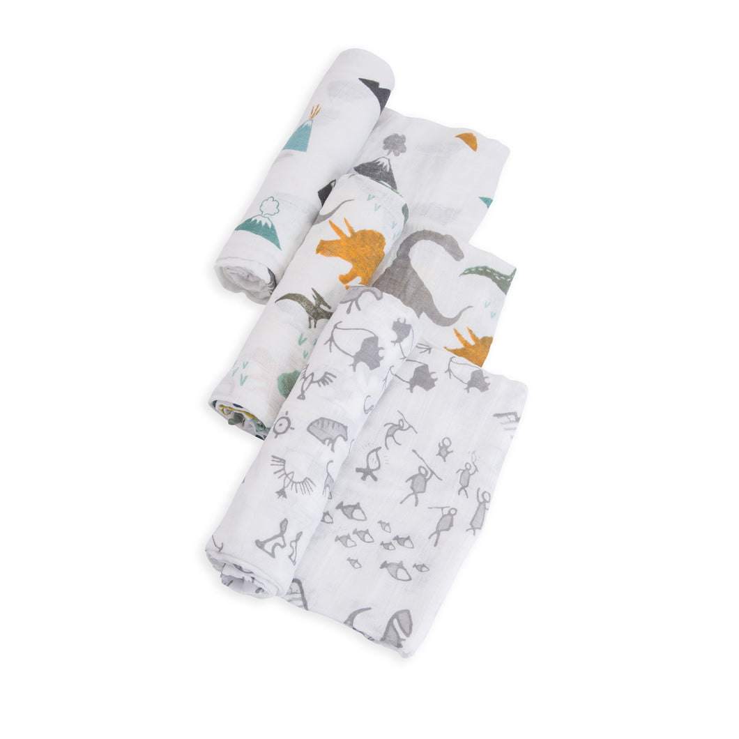 Cotton Muslin Swaddle 3 Pack - Dino Friends