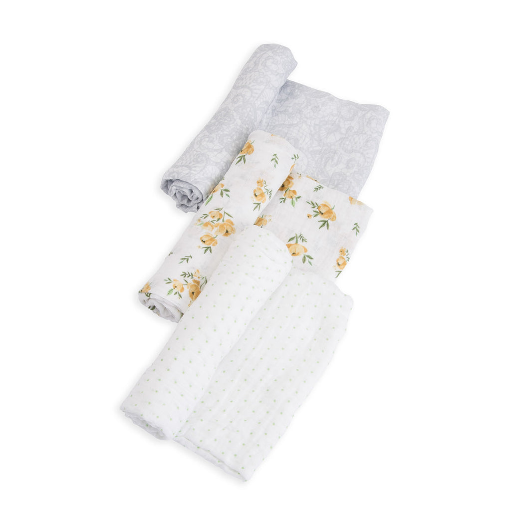 Cotton Muslin Swaddle 3 Pack - Yellow Rose