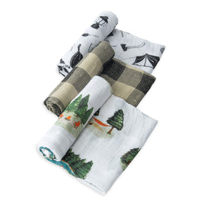Cotton Muslin Swaddle 3 Pack - Happy Camper