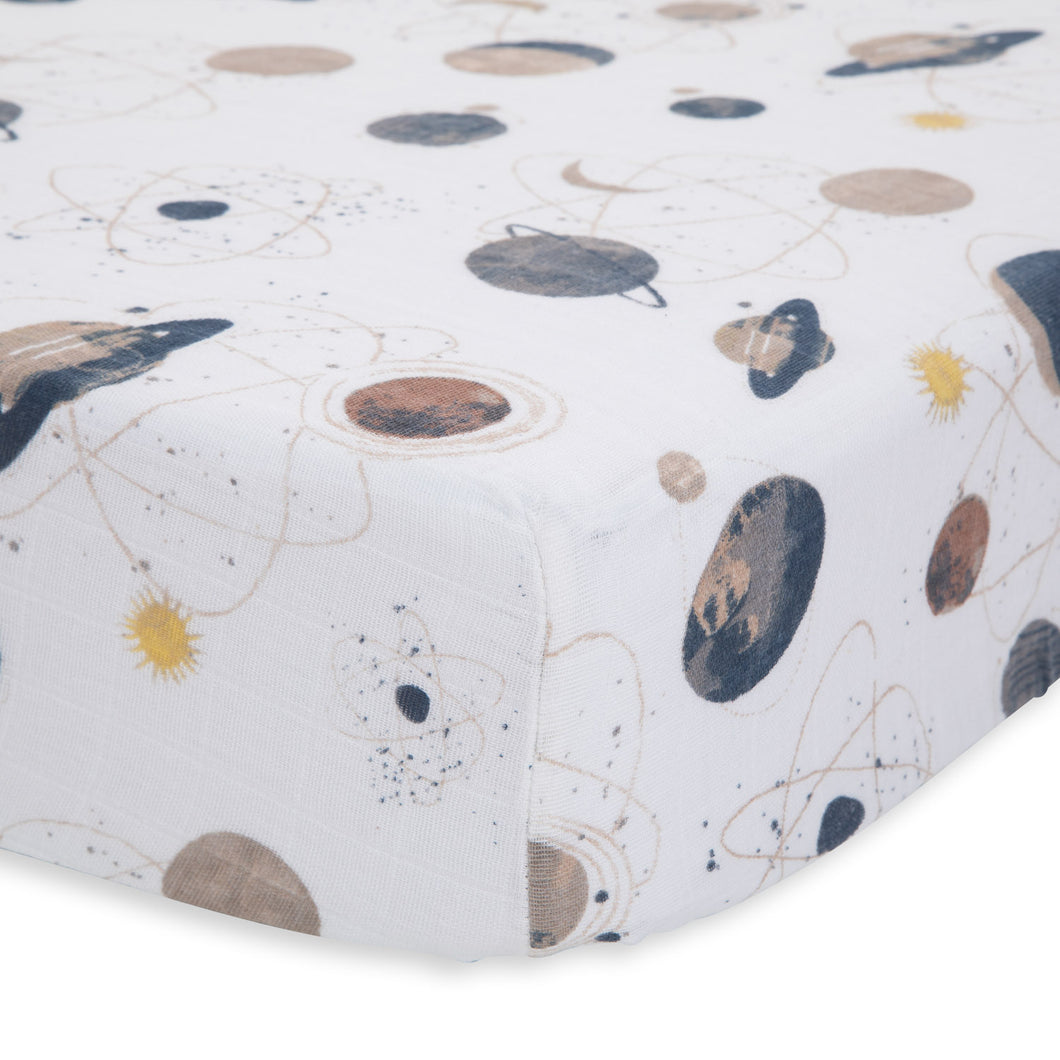 Cotton Muslin Crib Sheet - Planetary