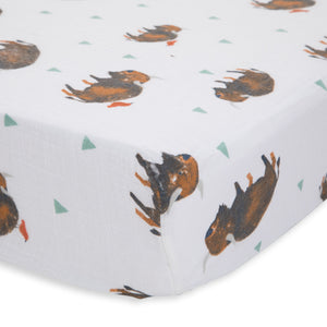 Cotton Muslin Crib Sheet - Bison