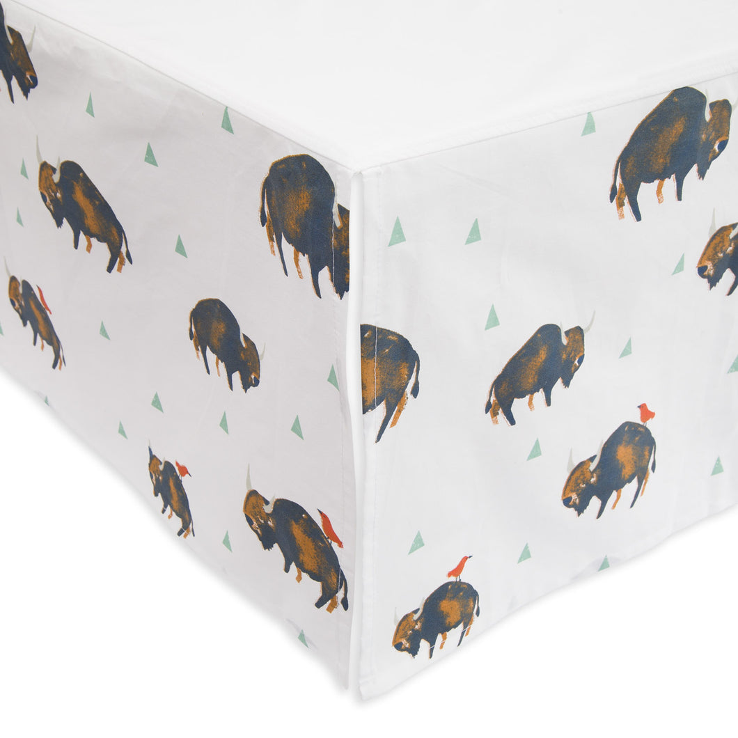 Percale Crib Skirt - Bison