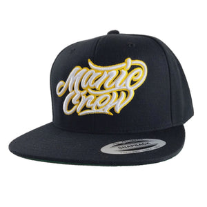Manic Crew Snapback Hat - Black - with white lettering