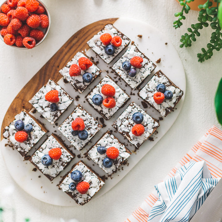 Chocolate SunButter Bars with Fresh Berries and Shaved Coconut
