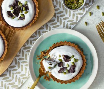 Dark Chocolate Tarts with Whipped Topping and Snack Breaks