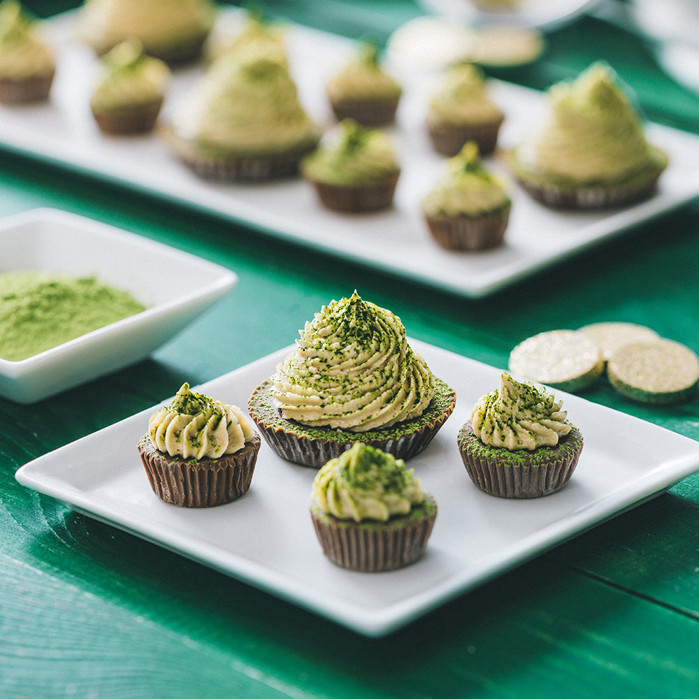 Frosted Matcha Dusted Sunflower Butter Cups