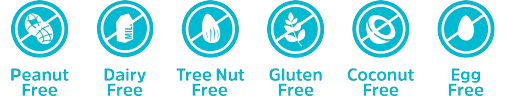 Free from: peanuts, dairy, tree nuts, gluten, coconuts, egg