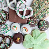 St. Patrick's Day Leprechaun Treats Shamrock Sugar Cookies pretzel knots covered Oreos®