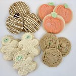 Collection of Halloween cookies - sugar mummy, sugar pumpkin, Pumpkin chocolate chunk, candy craze