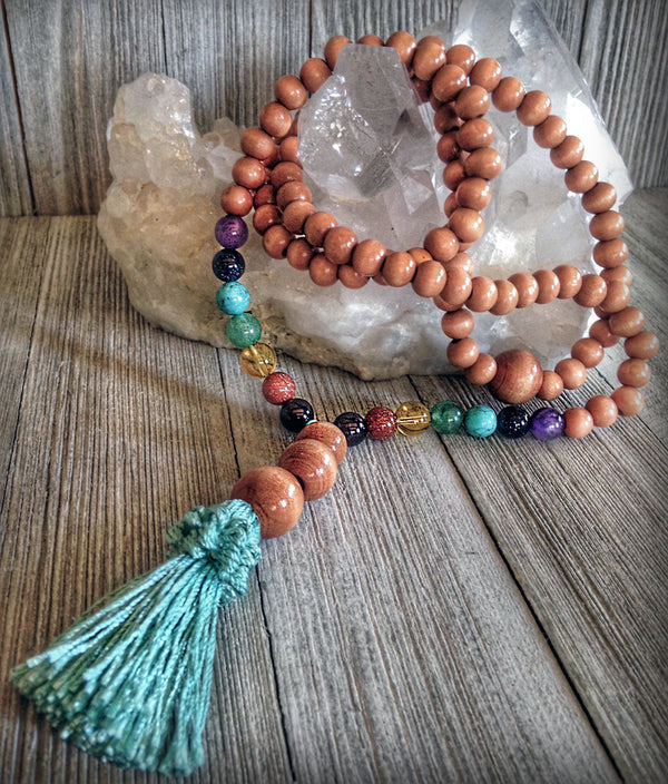 Chakra Prayer Beads - Natural wood