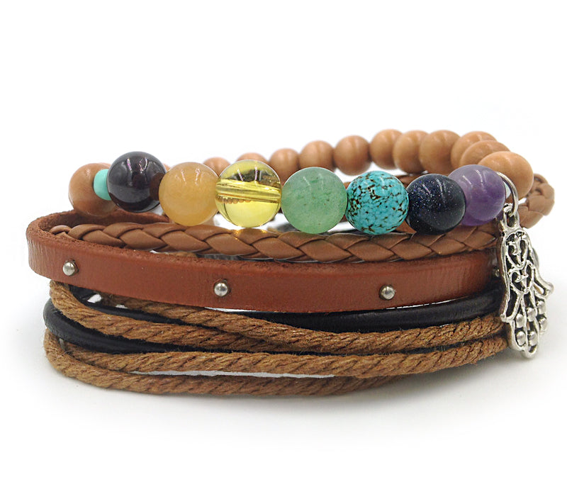 Boho Chakra Natural Wood 3pc Adjustable Bracelet Set (light brown and tan accent)