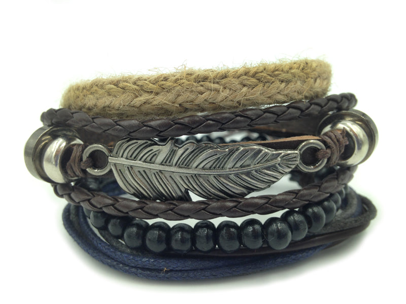 Feather Boho 4pc Adjustable Bracelet Set