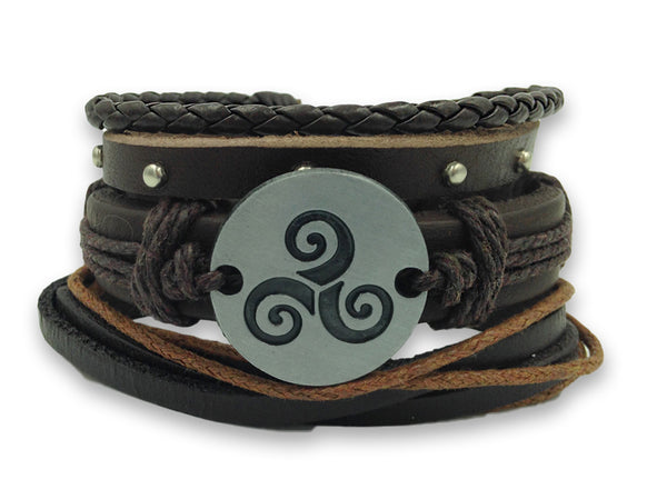 Celtic Spiral 3pc Adjustable Bracelet Set