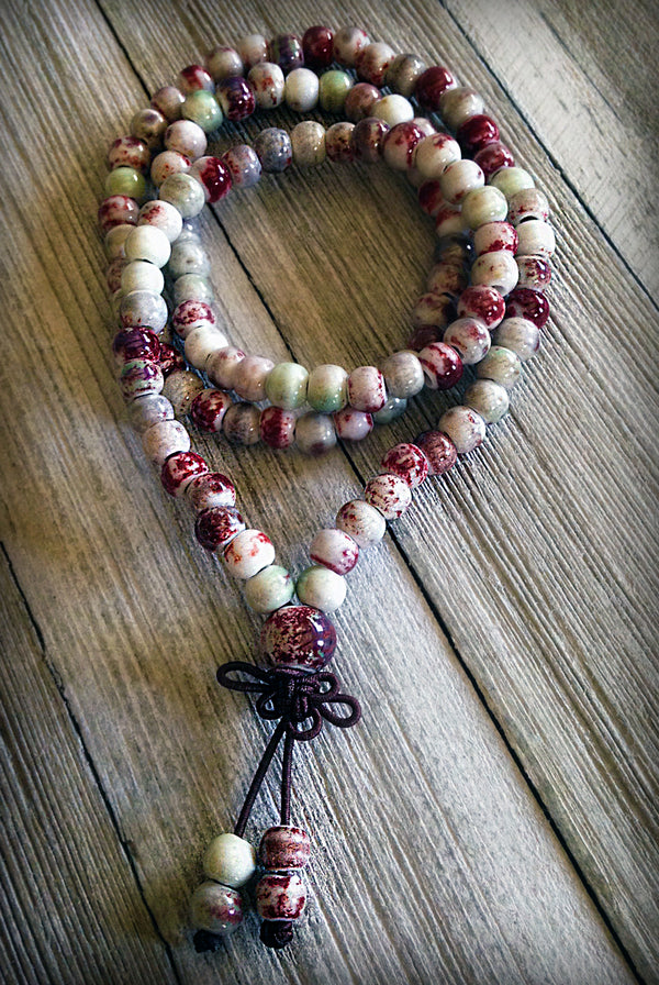 Ceramic Love 108 Mala White/Maroon Freckle Beads 6mm