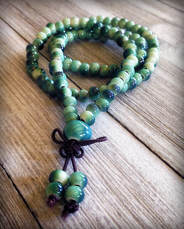 Ceramic Love 108 Mala Teal/Green Freckle Beads 6mm