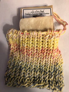 Soap Bag 100% Cotton Hand Knitted City Beat & Buttercup