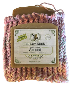 Soap Bag 100% Cotton Hand Knitted Pink Sparkle & Waterlily