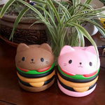 Pink & Coffee Color Hamburger Squishy