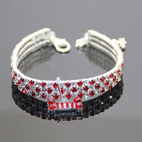 Colorful Bling Rhinestone Dog or Cat Collar - Available in 4 Colors & 3 Sizes