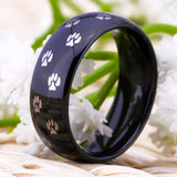 Black Tungsten Carbide Ring with Paw Design - For Men  or Women