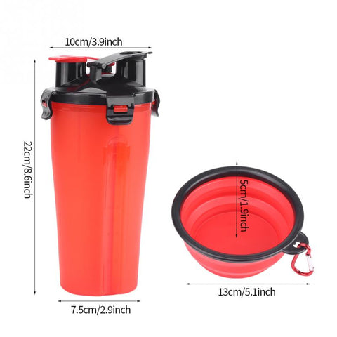 2 in 1 Food and Water Travel Bottle with Bowl