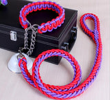 High Quality Braided Rope Collar & Leash Set - Available in 15 Colors and 4 Sizes