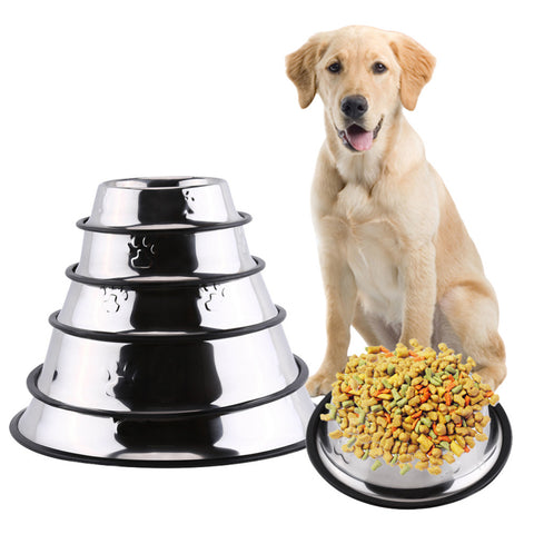 Paw Embossed Stainless Steel Food & Water Bowl - Available in 5 sizes