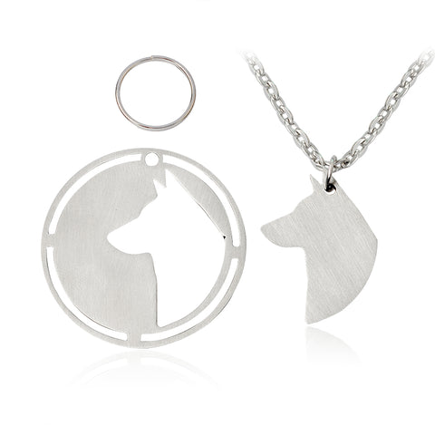 2 Piece Stainless Steel Necklace & Key Chain Set - Choose from 8 Popular Dog Breeds