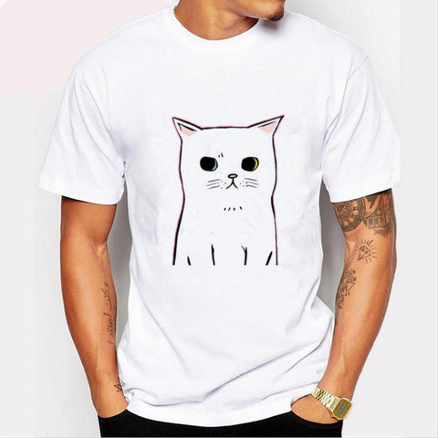 White Short Sleeve Graphic Cat Tshirt -19 Designs Available