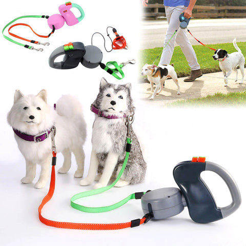 Retractable Tangle Free Dual Dog Leash