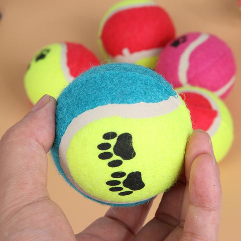 5 Pack of Multicolor Dog Toy Tennis Balls