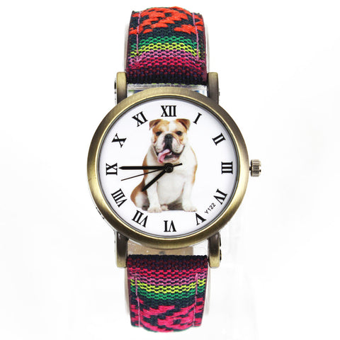 Bulldog Watch with Fabric Band