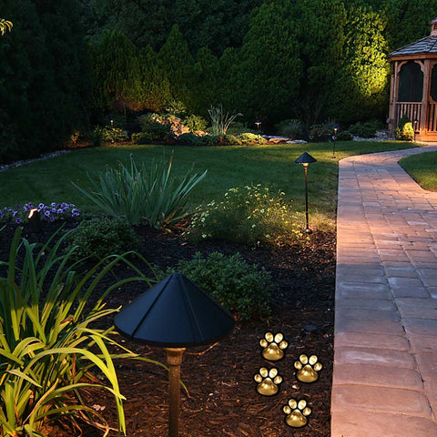 4 LED Paw Print Solar Powered Landscape Lights, Solar Lights, Paw Print, Paw Print Light, Landscape lights